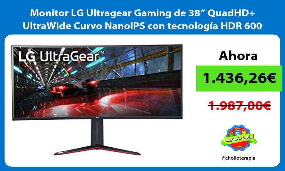 "Monitor LG Ultragear Gaming de 38"" QuadHD UltraWide Curvo NanoIPS con tecnología HDR 600"