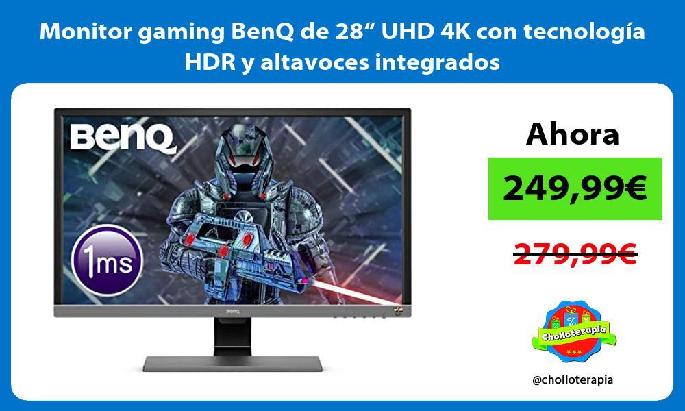 """Monitor gaming BenQ de 28"""" UHD 4K con tecnología HDR y altavoces integrados"""