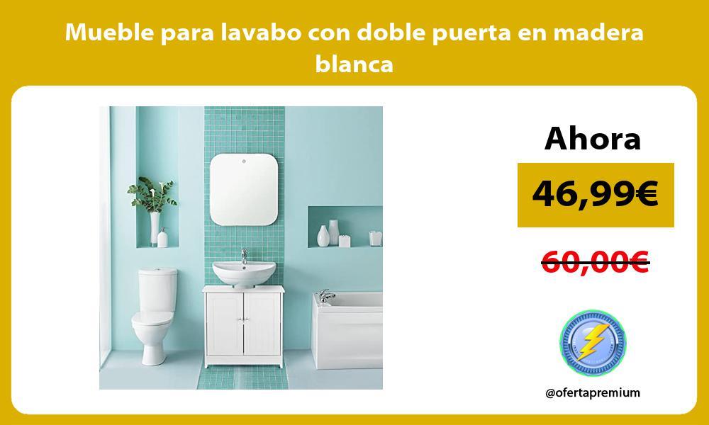 Mueble para lavabo con doble puerta en madera blanca