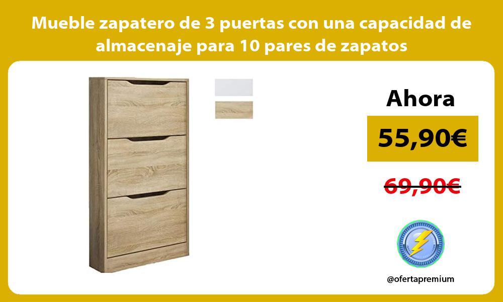 Mueble zapatero de 3 puertas con una capacidad de almacenaje para 10 pares de zapatos