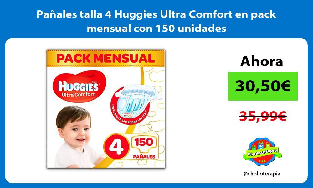 Pañales talla 4 Huggies Ultra Comfort en pack mensual con 150 unidades