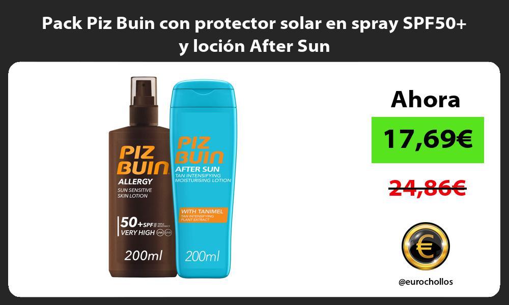 Pack Piz Buin con protector solar en spray SPF50 y loción After Sun