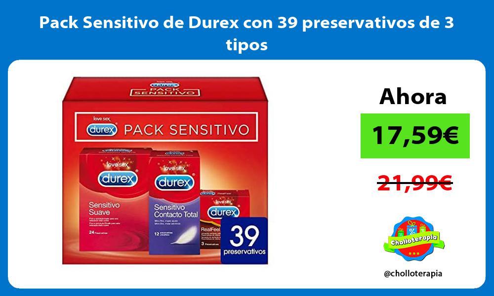 Pack Sensitivo de Durex con 39 preservativos de 3 tipos