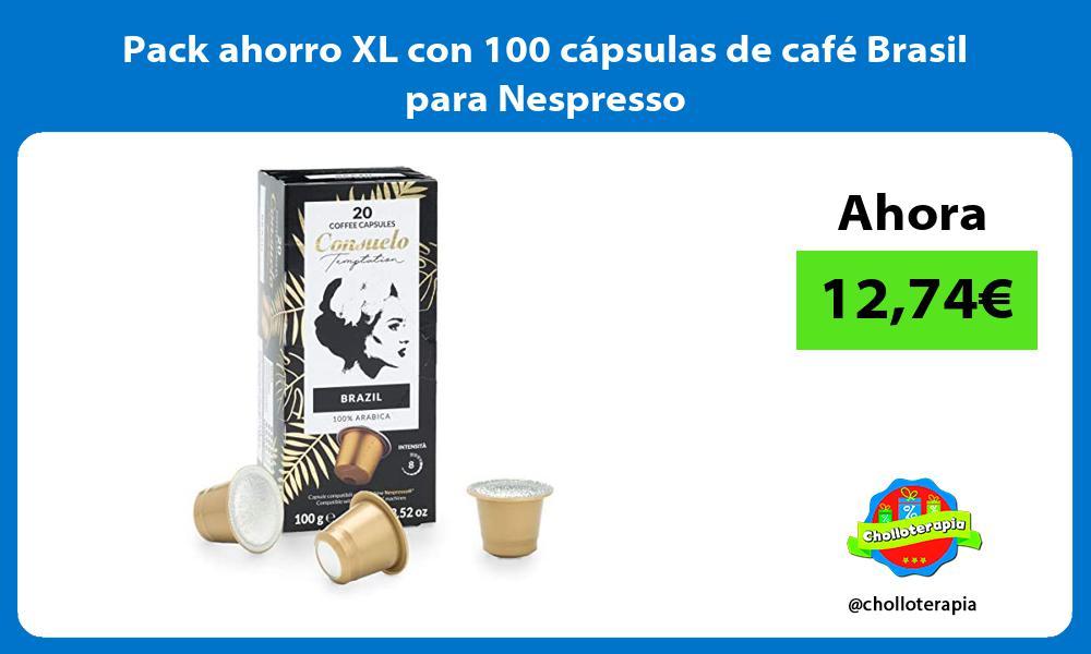 Pack ahorro XL con 100 cápsulas de café Brasil para Nespresso