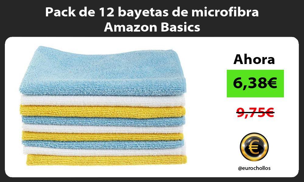 Pack de 12 bayetas de microfibra Amazon Basics