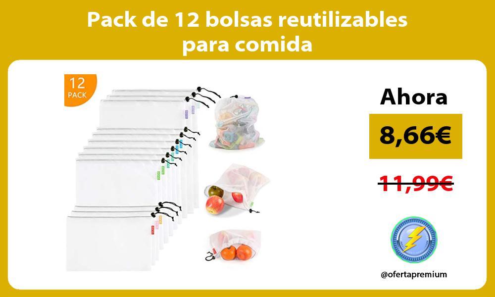 Pack de 12 bolsas reutilizables para comida