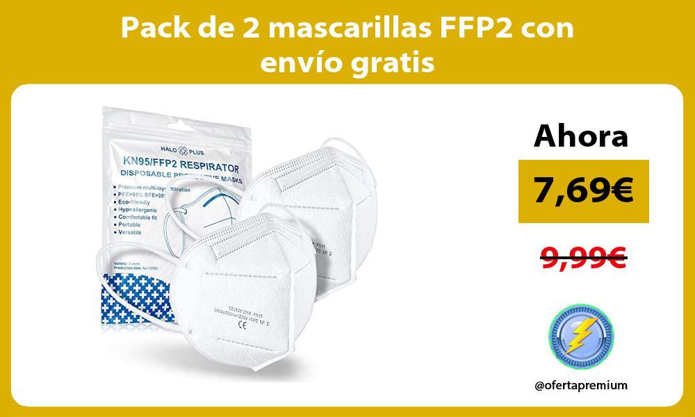 Pack de 2 mascarillas FFP2 con envío gratis