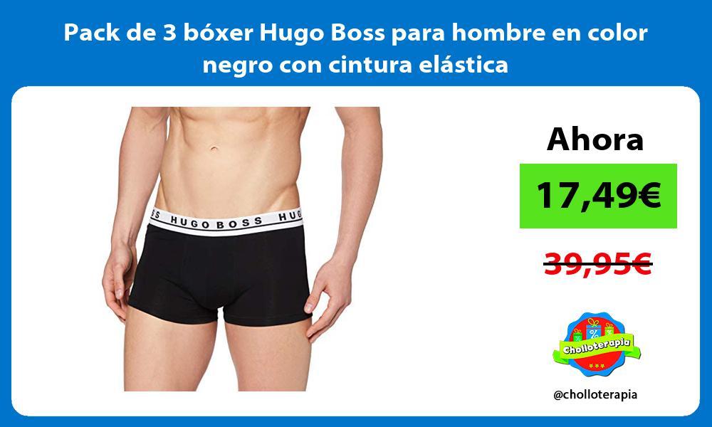 Pack de 3 bóxer Hugo Boss para hombre en color negro con cintura elástica