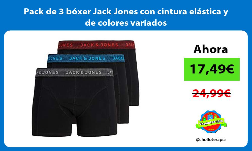 Pack de 3 bóxer Jack Jones con cintura elástica y de colores variados
