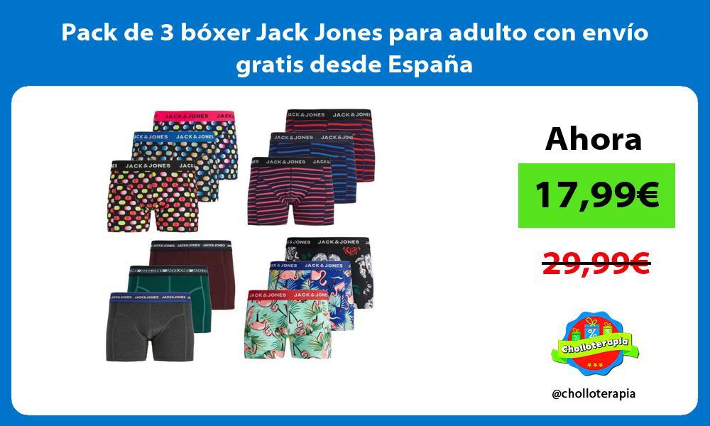Pack de 3 bóxer Jack Jones para adulto con envío gratis desde España
