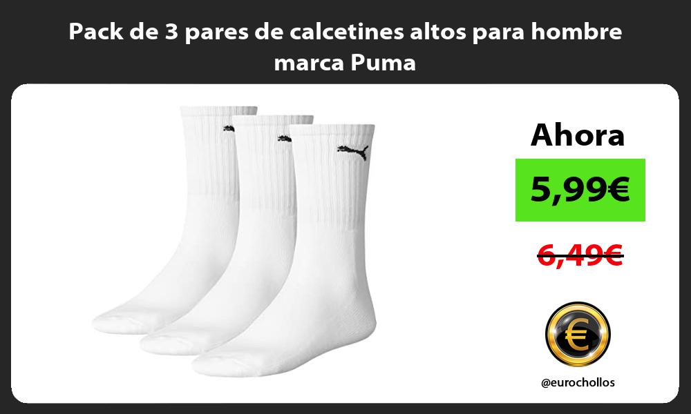 Pack de 3 pares de calcetines altos para hombre marca Puma