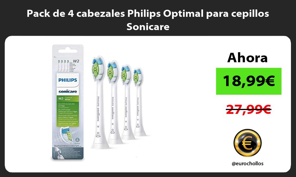 Pack de 4 cabezales Philips Optimal para cepillos Sonicare