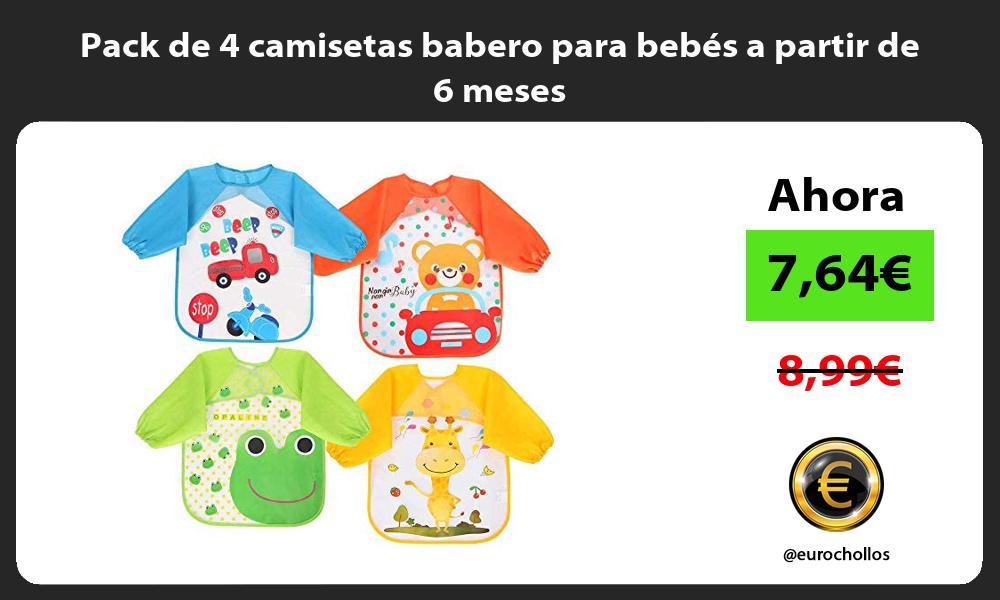 Pack de 4 camisetas babero para bebés a partir de 6 meses