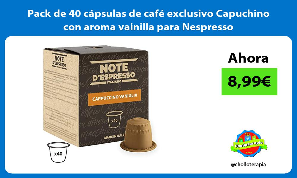 Pack de 40 cápsulas de café exclusivo Capuchino con aroma vainilla para Nespresso