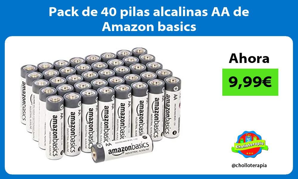 Pack de 40 pilas alcalinas AA de Amazon basics