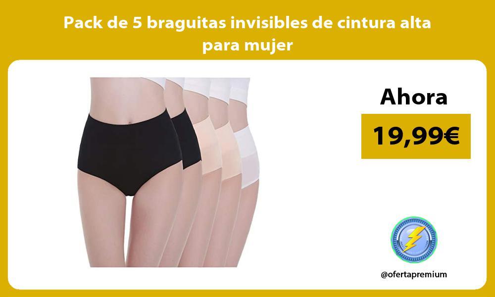 Pack de 5 braguitas invisibles de cintura alta para mujer