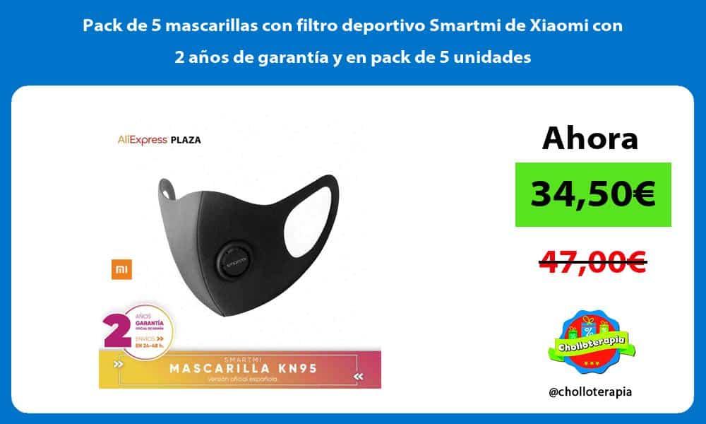 Pack de 5 mascarillas con filtro deportivo Smartmi de Xiaomi con 2 años de garantía y en pack de 5 unidades