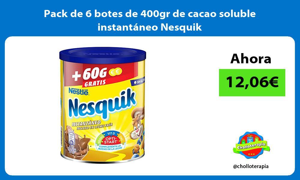 Pack de 6 botes de 400gr de cacao soluble instantáneo Nesquik