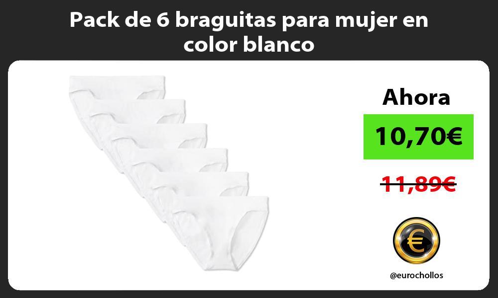 Pack de 6 braguitas para mujer en color blanco