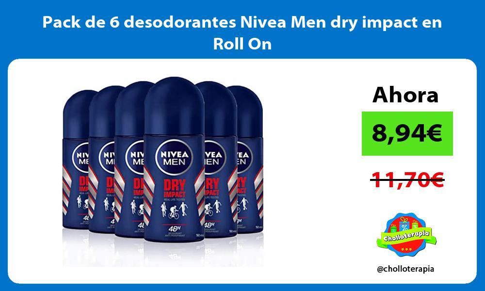 Pack de 6 desodorantes Nivea Men dry impact en Roll On