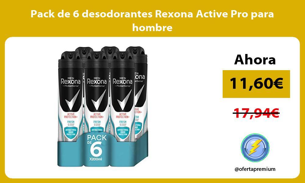 Pack de 6 desodorantes Rexona Active Pro para hombre