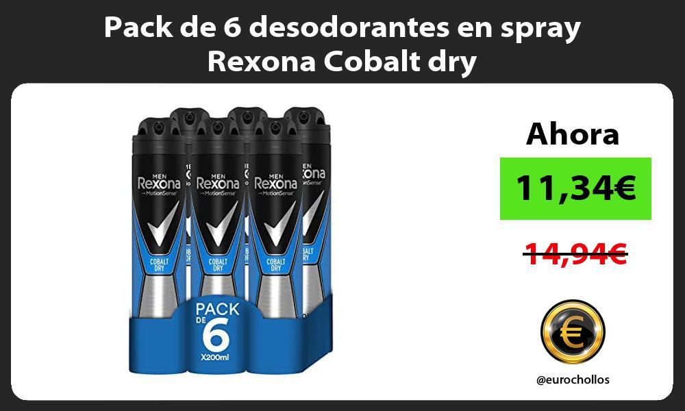 Pack de 6 desodorantes en spray Rexona Cobalt dry