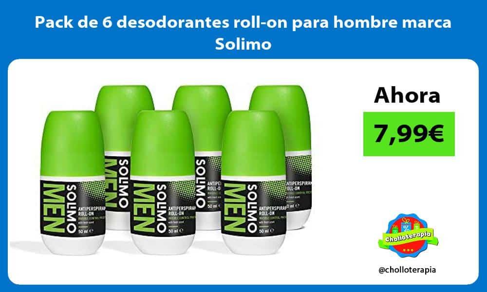 Pack de 6 desodorantes roll on para hombre marca Solimo