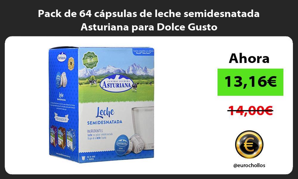 Pack de 64 cápsulas de leche semidesnatada Asturiana para Dolce Gusto