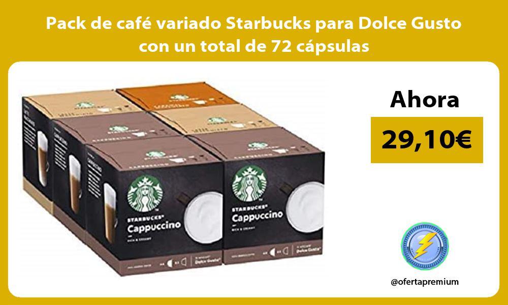 Pack de café variado Starbucks para Dolce Gusto con un total de 72 cápsulas