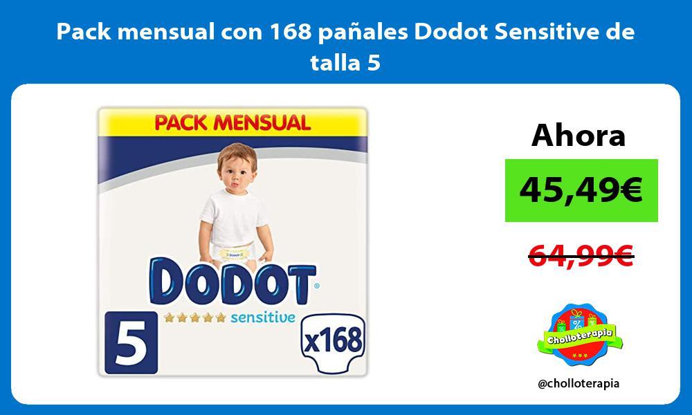 Pack mensual con 168 pañales Dodot Sensitive de talla 5