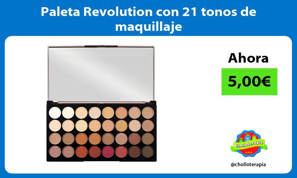 Paleta Revolution con 21 tonos de maquillaje