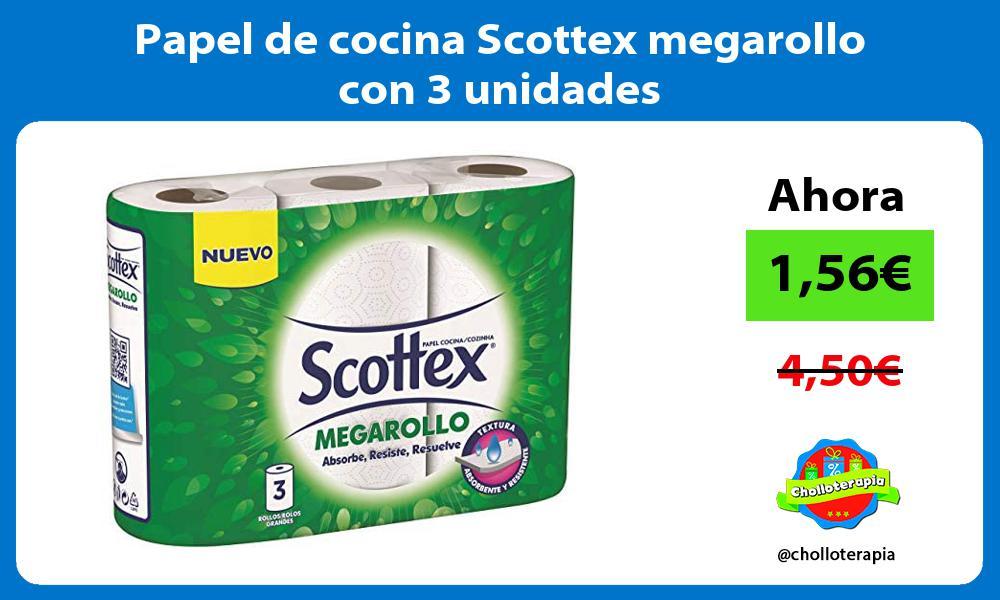 Papel de cocina Scottex megarollo con 3 unidades