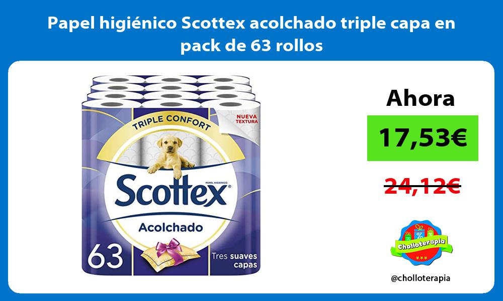 Papel higiénico Scottex acolchado triple capa en pack de 63 rollos