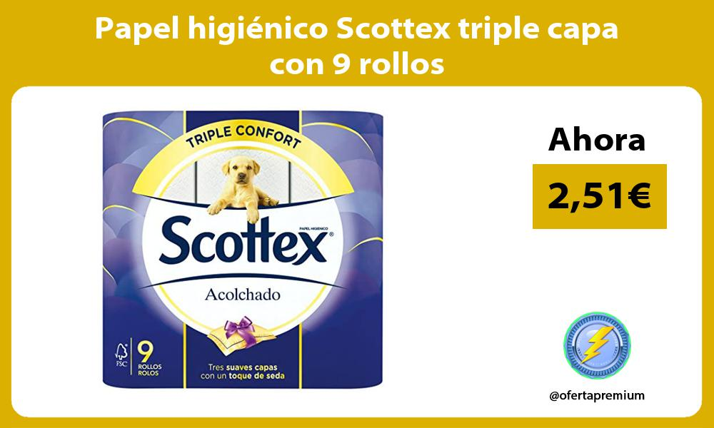 Papel higiénico Scottex triple capa con 9 rollos