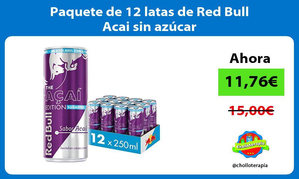 Paquete de 12 latas de Red Bull Acai sin azúcar