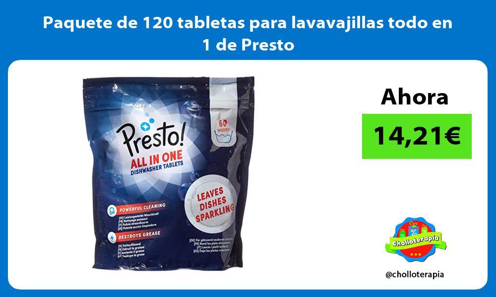 Paquete de 120 tabletas para lavavajillas todo en 1 de Presto