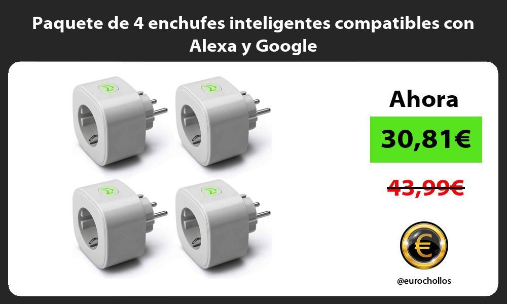 Paquete de 4 enchufes inteligentes compatibles con Alexa y Google
