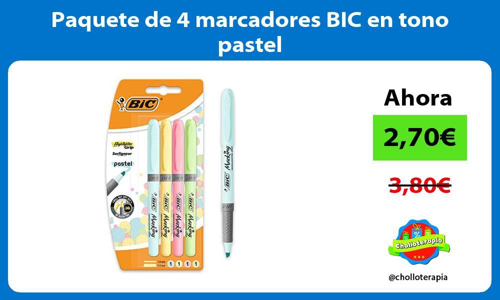 Paquete de 4 marcadores BIC en tono pastel