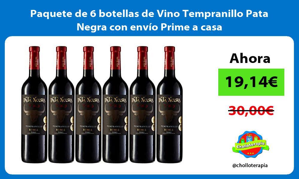 Paquete de 6 botellas de Vino Tempranillo Pata Negra con envío Prime a casa