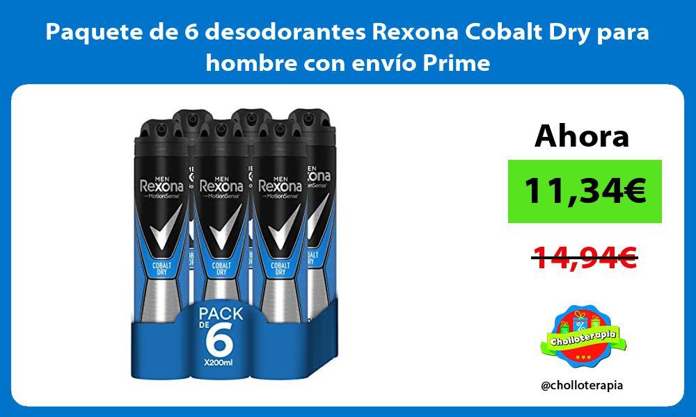 Paquete de 6 desodorantes Rexona Cobalt Dry para hombre con envío Prime