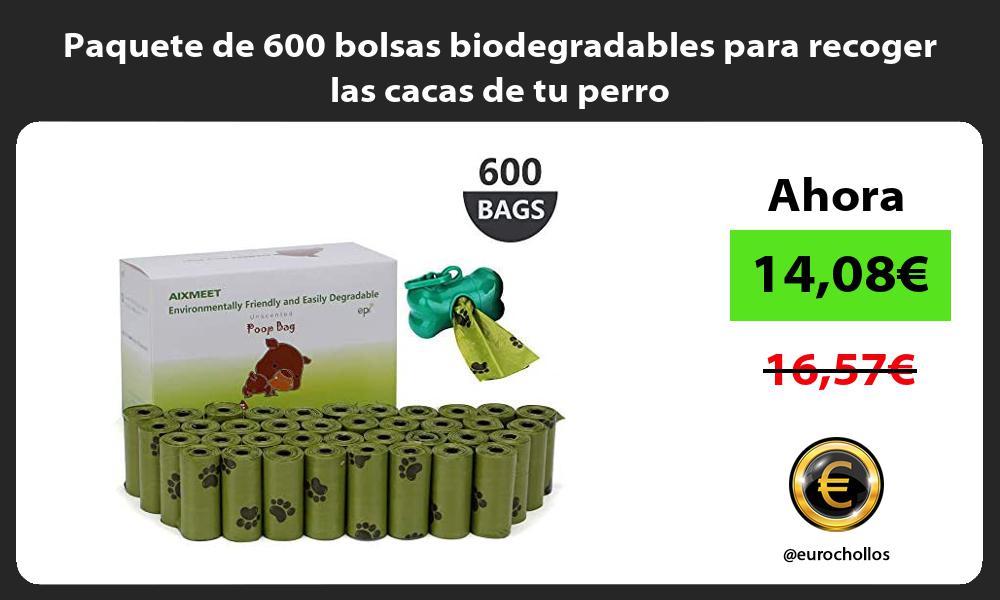 Paquete de 600 bolsas biodegradables para recoger las cacas de tu perro