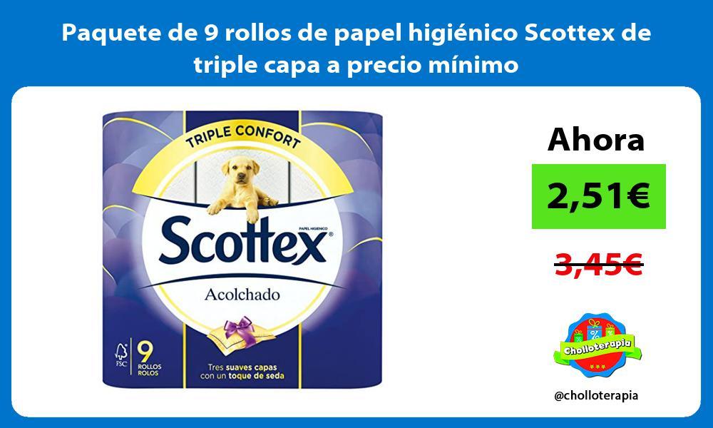 Paquete de 9 rollos de papel higiénico Scottex de triple capa a precio mínimo