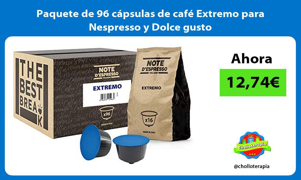 Paquete de 96 cápsulas de café Extremo para Nespresso y Dolce gusto