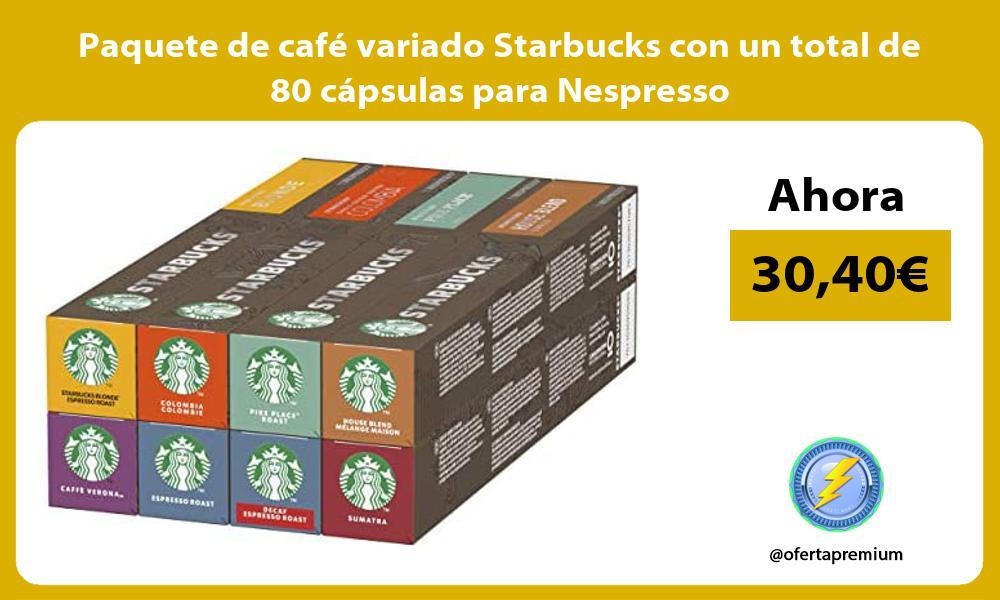 Paquete de café variado Starbucks con un total de 80 cápsulas para Nespresso