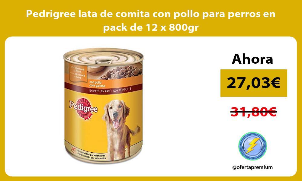 Pedrigree lata de comita con pollo para perros en pack de 12 x 800gr