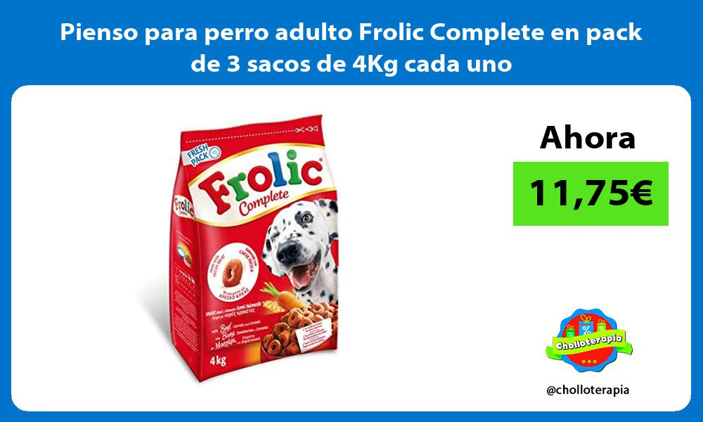 Pienso para perro adulto Frolic Complete en pack de 3 sacos de 4Kg cada uno
