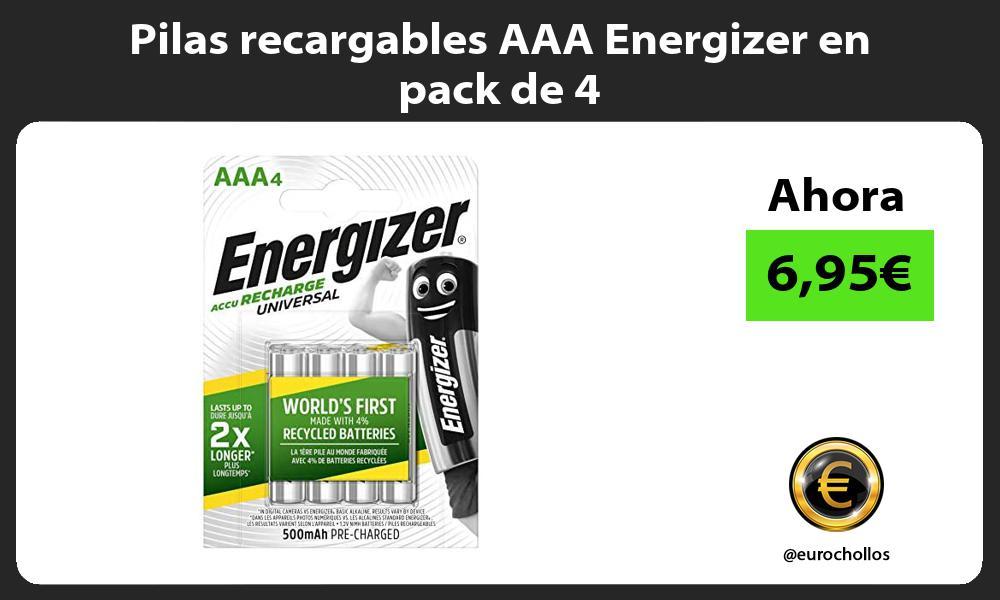 Pilas recargables AAA Energizer en pack de 4