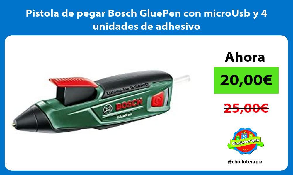 Pistola de pegar Bosch GluePen con microUsb y 4 unidades de adhesivo