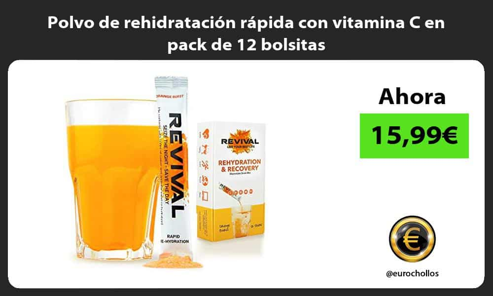 Polvo de rehidratación rápida con vitamina C en pack de 12 bolsitas