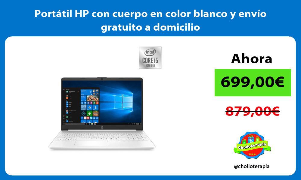 Portátil HP con cuerpo en color blanco y envío gratuito a domicilio